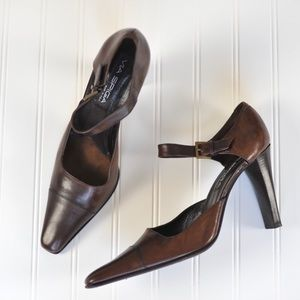 Via Spiga Italy Leather Ankle Strap Heels 10.5
